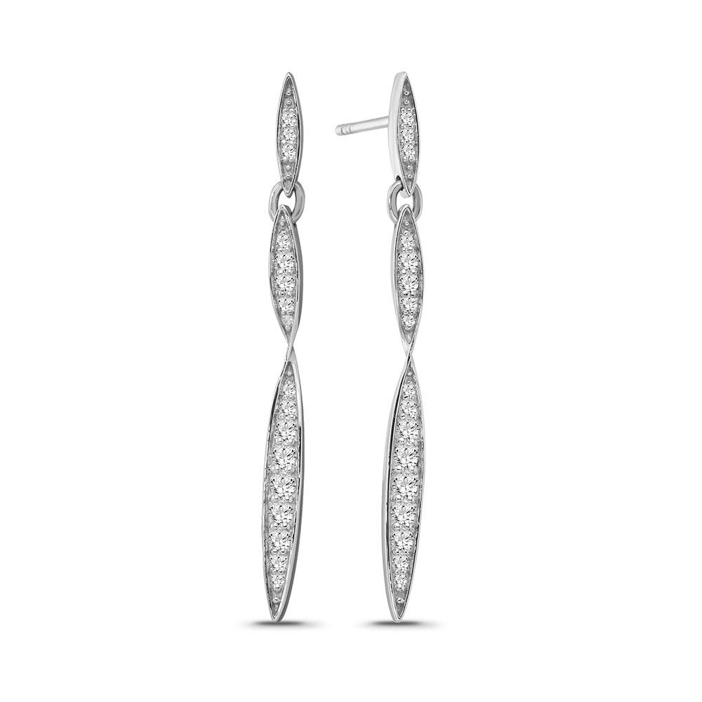 1/2 Carat Diamond Fashion Dangle Earrings in Sterling Silver