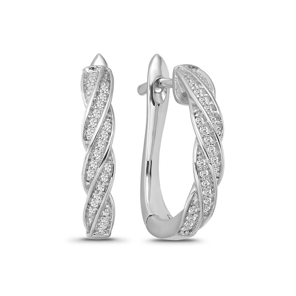 1/6 Carat Diamond Huggie Hoop Earrings in Sterling Silver