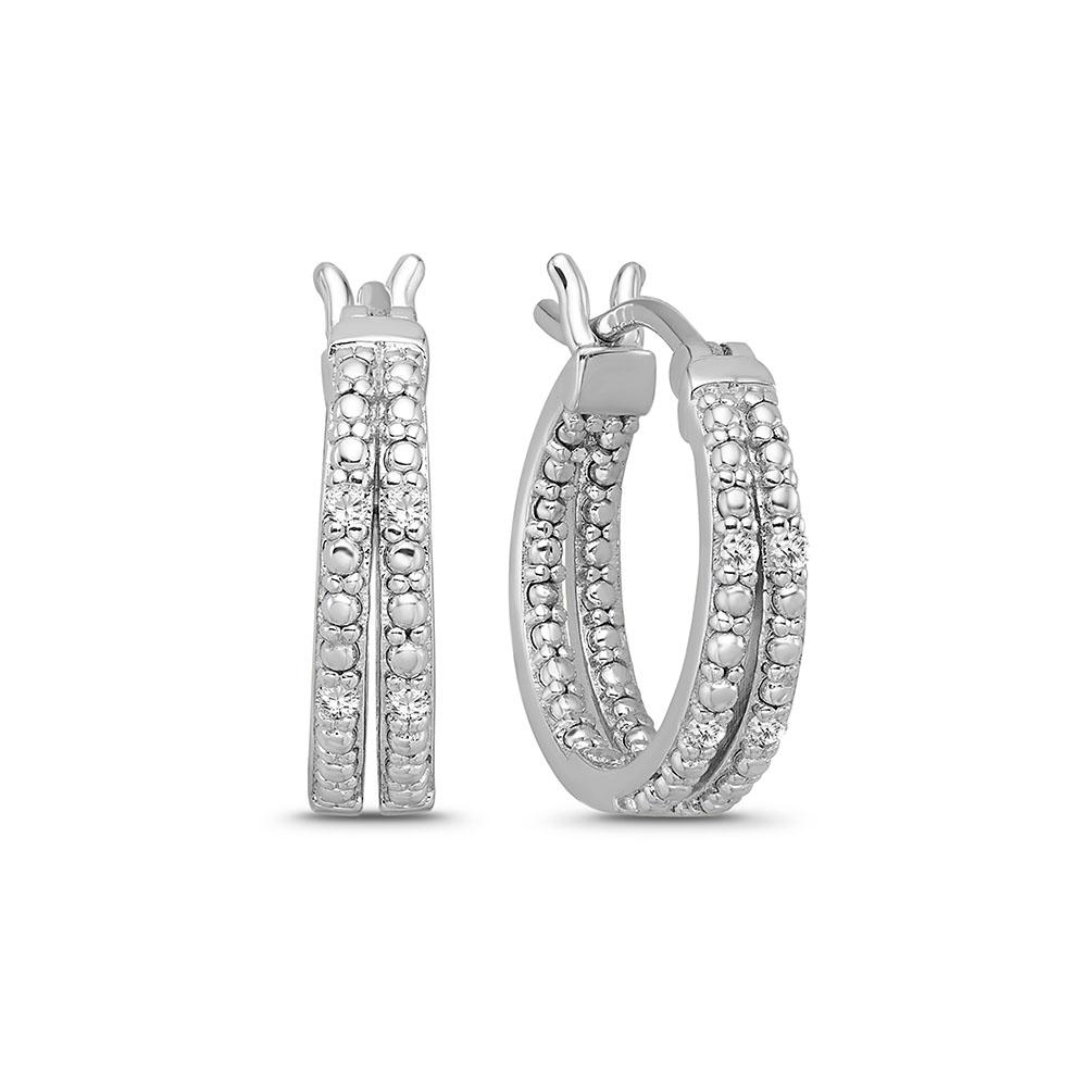 0.08 Carat Diamond Huggie Hoop Earrings in Sterling Silver