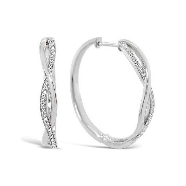1/4 Carat Diamond Hoop Earrings in Sterling Silver (30mm)