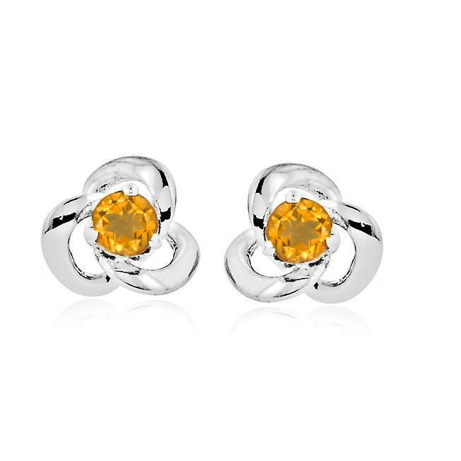 1/5 Carat Citrine Knot Earrings in Sterling Silver
