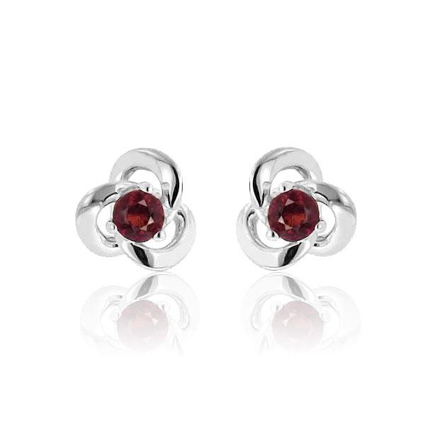 1/4 Carat Garnet Knot Stud Earrings in Sterling Silver