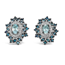 Load image into Gallery viewer, 2.00 Carat Genuine Aquamarine & London Blue Topaz Flower Earrings in Sterling Silver