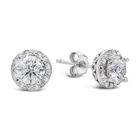 2.00 Carat White Sapphire & Diamond Halo Earrings in Sterling Silver