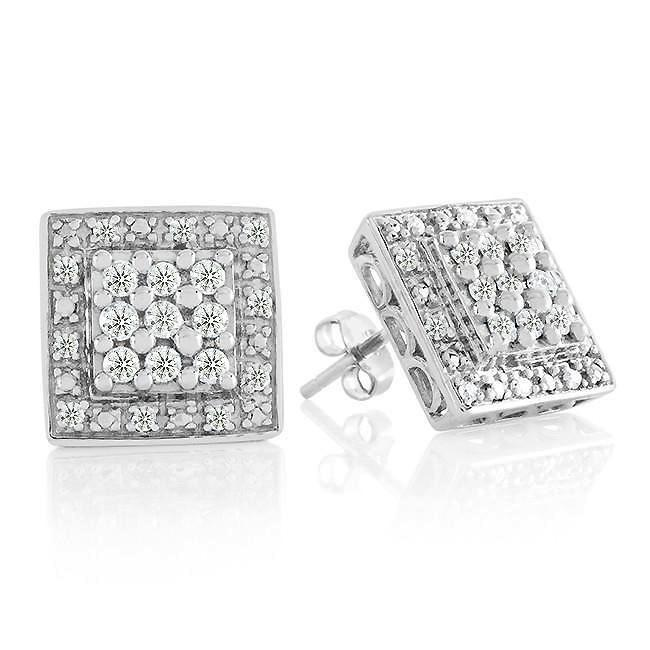 1/2 Carat Diamond Stud Cluster Earrings in Sterling Silver