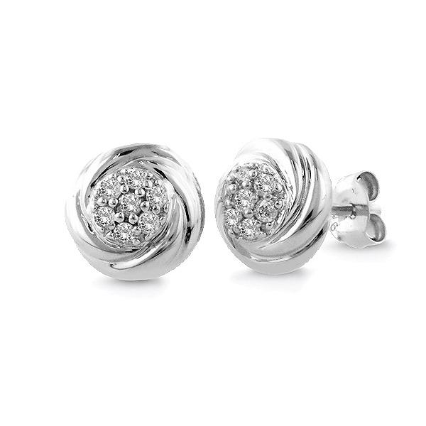 0.10 Carat tw Diamond Cluster Stud Earrings in Sterling Silver