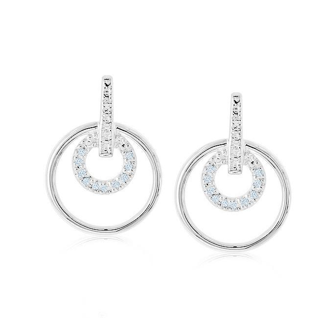 Diamond Double Circle Earrings in Sterling Silver