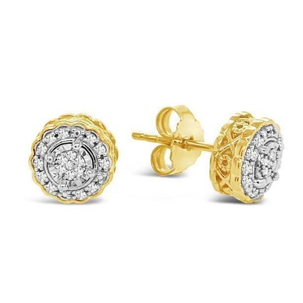 1/6 Carat Diamond Halo Stud Earrings in 14k Yellow Gold/Sterling Silver