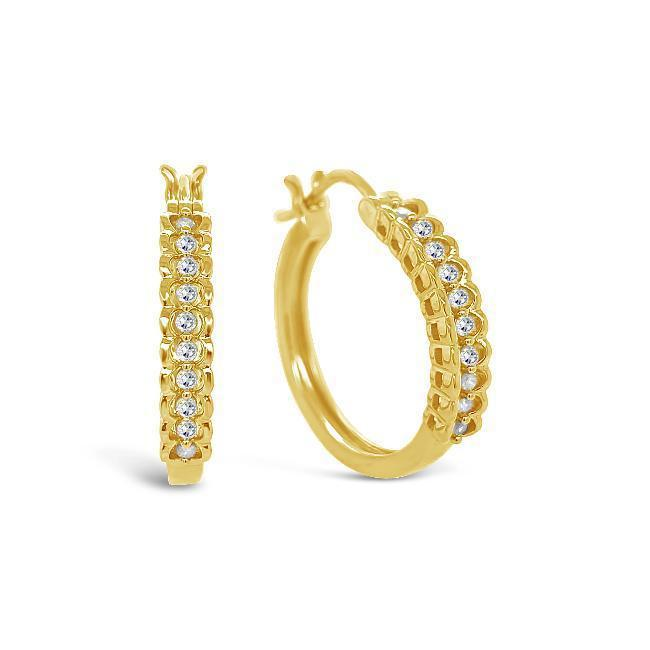 1/5 Carat Diamond Hoop Earrings in 14K Yellow Gold/Sterling Silver