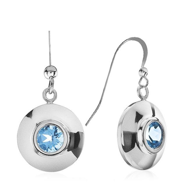 Sterling Silver Blue Topaz Round Dangle Earrings