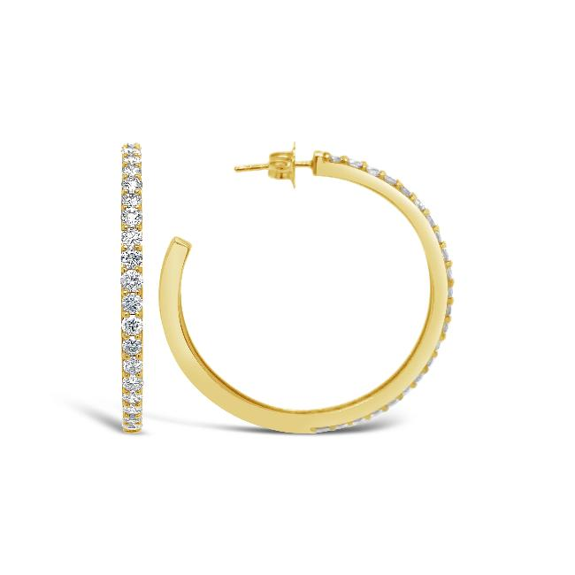 2.00 Carat Diamond Hoop Earrings in 14K Yellow Gold