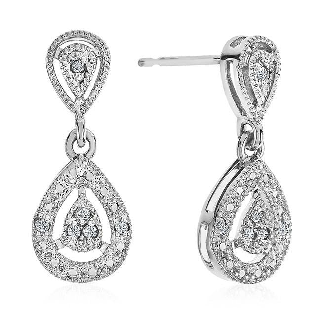 Diamond Accent Dangle Earrings in Platinum-Plated Brass