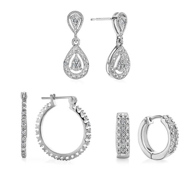 3 Piece Diamond Accent Earring Set In Platinum-Plated Brass