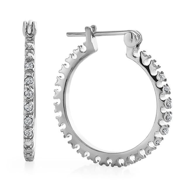 Diamond Accent Hoop Earrings in Platinum-Plated Brass