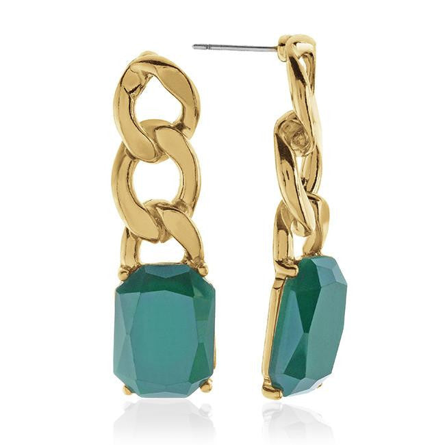 Green Fashion Drop Earrings