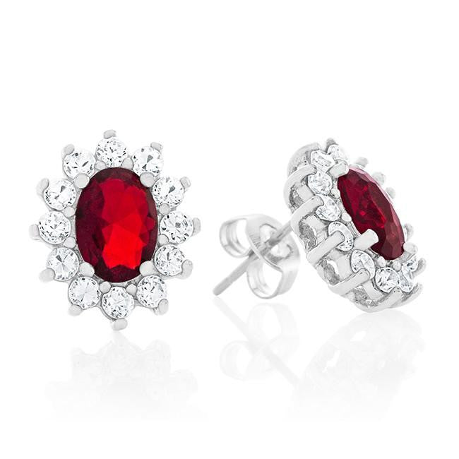Red & White Cubic Zirconia Fashion Earrings