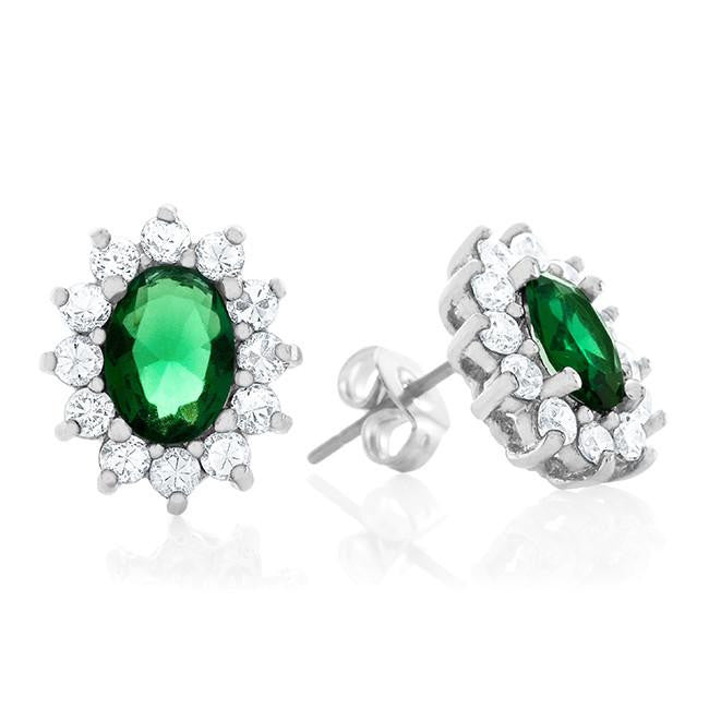 Green & White Cubic Zirconia Fashion Earrings
