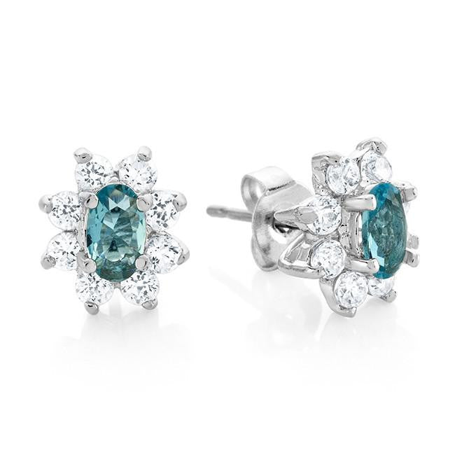 Light Blue & White Cubic Zirconia Fashion Earrings