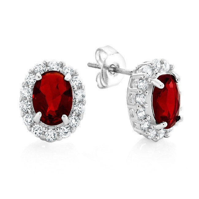 2.00 Carat Red & White CZ Fashion Earrings