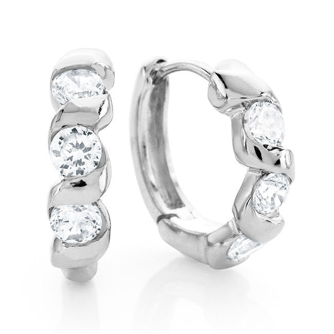 Cubic Zirconia Fashion Huggie Hoop Earrings