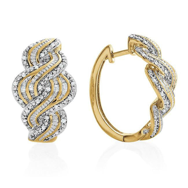 1/2 Carat Diamond Swirl Hoop Earrings in Gold-Plated Bronze