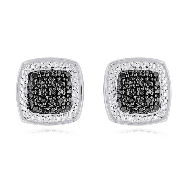 0.08 Carat Black & White Diamond Square Fashion Earrings