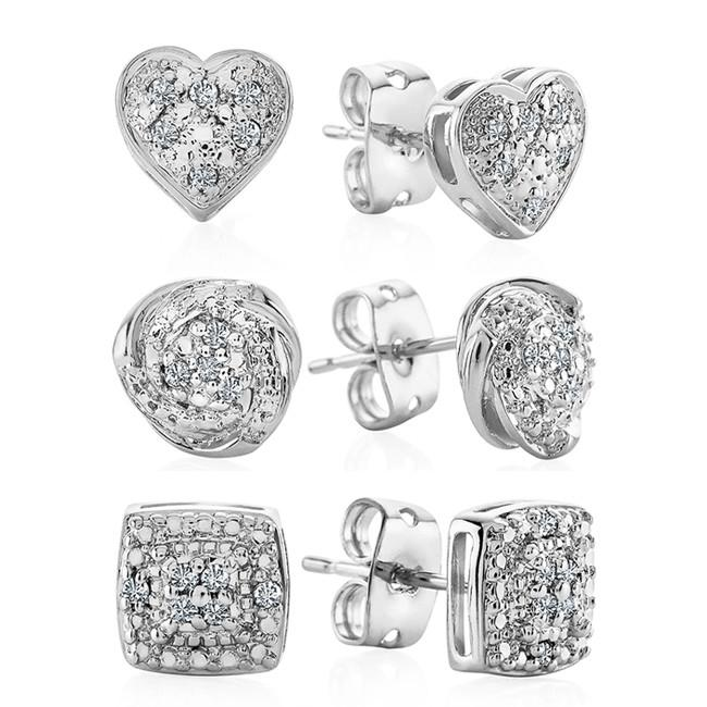 3 Piece Diamond Accent  Fashion Earring Set