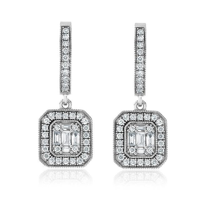 0.75 Carat Diamond Earrings in 14K White Gold