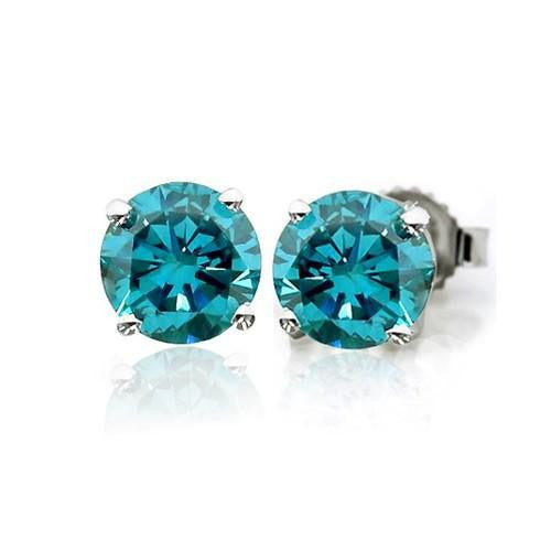 1/3 Carat tw Blue Diamond Stud  Earrings in 14K White Gold