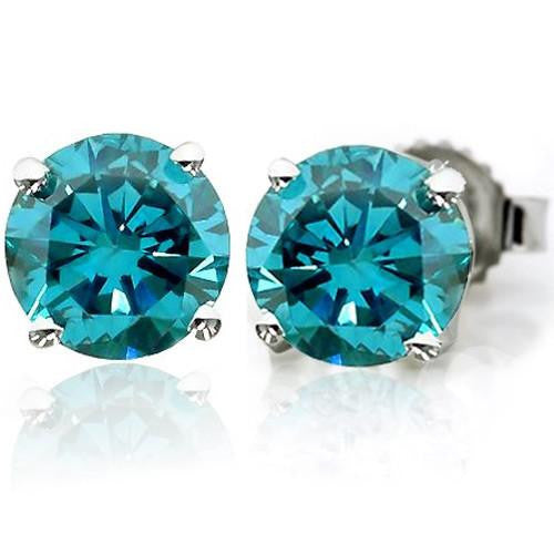 1.50 Carat tw Blue Diamond Stud Earrings in 14K White Gold