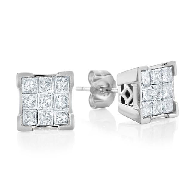 1.00 Carat Princess Cut Diamond Cluster Stud Earrings in 14k White Gold