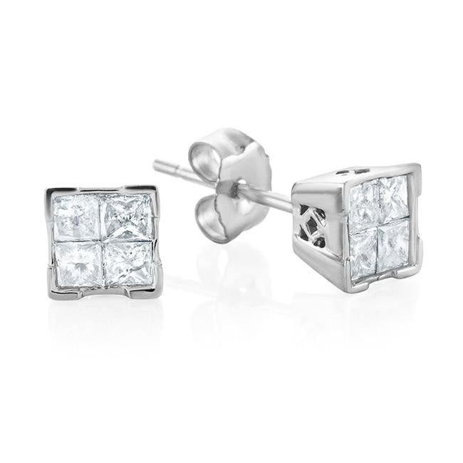 1/2 Carat Princess Cut Diamond Stud Earrings in 14k White Gold