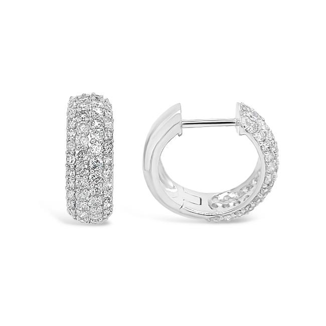 2.00 Carat Diamond Huggie Hoop Earrings in 14K White Gold
