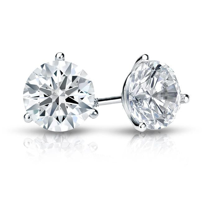 1.50 Carat Round Diamond Stud Earrings in 18K White Gold 3-Prong Martini Setting