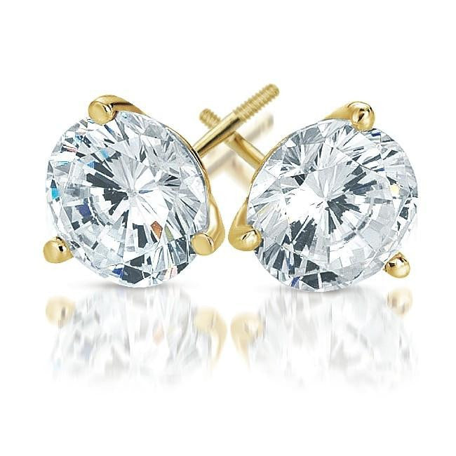 1.50 Carat Round Diamond Stud Earrings in 18K Yellow Gold 3-Prong Martini Setting