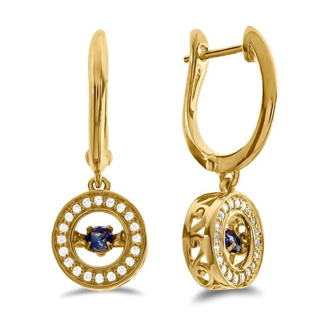 Created Ceylon Sapphire & White Sapphire Dangle Earrings in 10K Yellow Gold