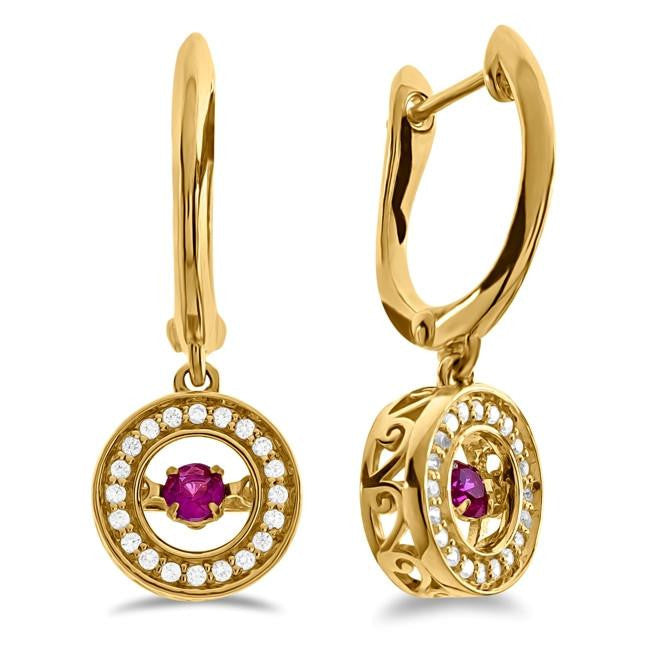 Created Ruby & White Sapphire Dangle Earrings in 10K Yellow Gold