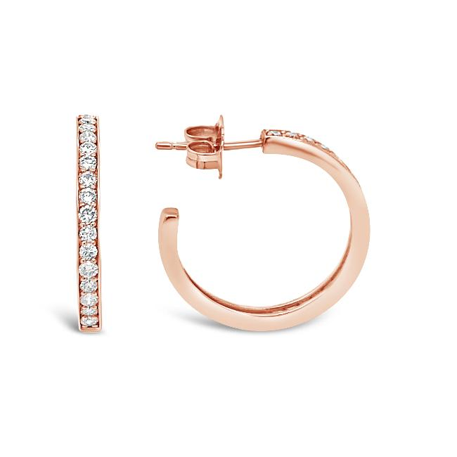 3/4 Carat Diamond Hoop Earrings in 14K Rose Gold