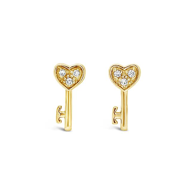 "Diamond Accent ""Cute & Tiny"" Heart Key Earrings in 10K Yellow Gold"