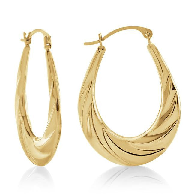 10k Yellow Gold Fancy Polished Hoop Earrings