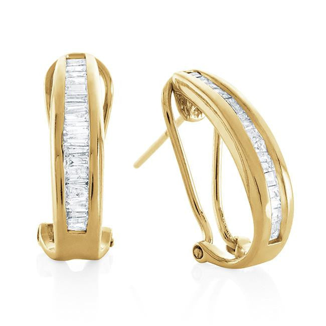 0.50 Carat Diamond Hoop Earrings in 10k Yellow Gold