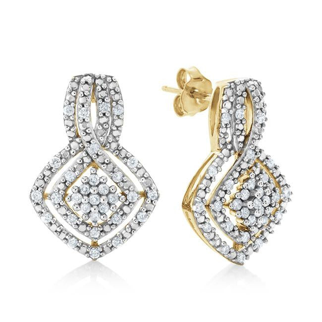 0.50 Carat Diamond Earrings in 10K Yellow Gold