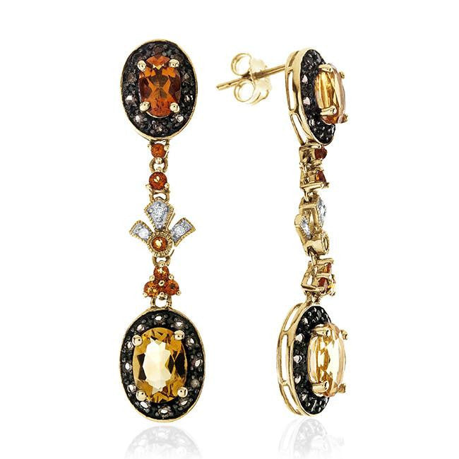 2.75 Carat Genuine Citrine & Smokey Quartz Earrings in 10k Yellow Gold