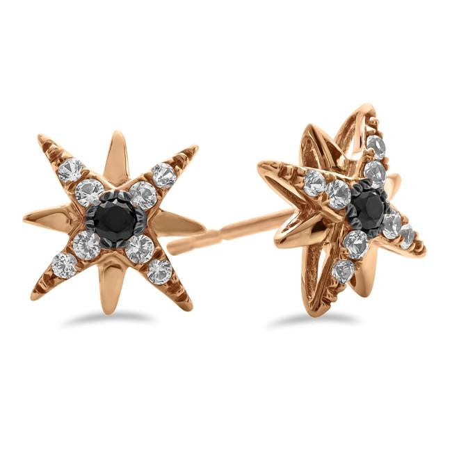 Black Spinel & White Sapphire Star Earrings in 10K Rose Gold
