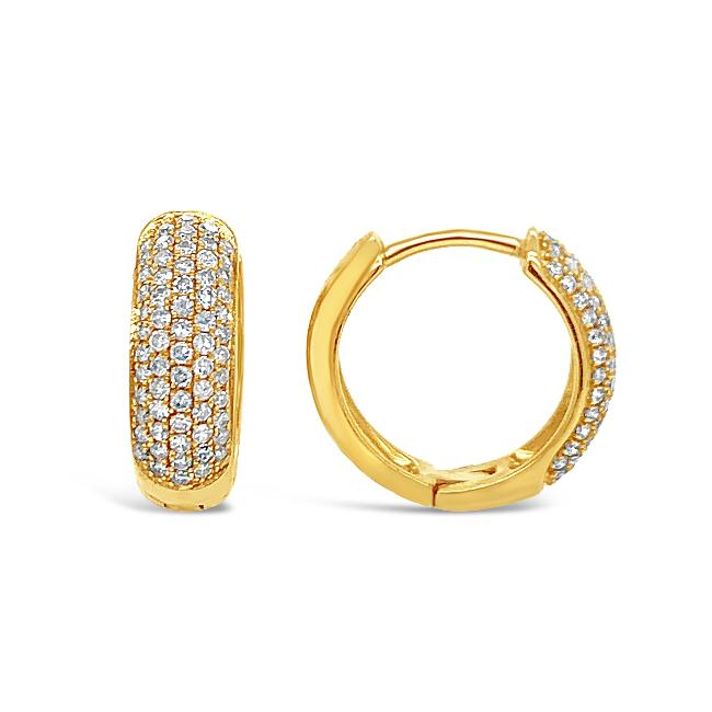 0.40 Carat Diamond Huggie Hoop Earrings in 10K Yellow Gold