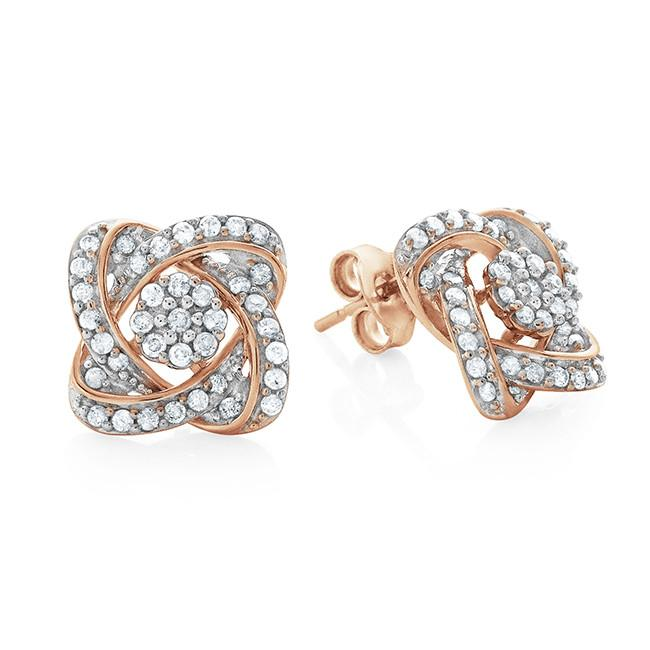 0.50 Carat Diamond Flower Earrings In 10K Pink Gold