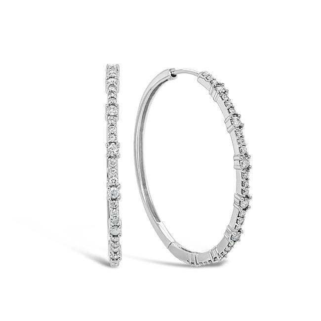 1.00 Carat Diamond Hoops in 10K White Gold