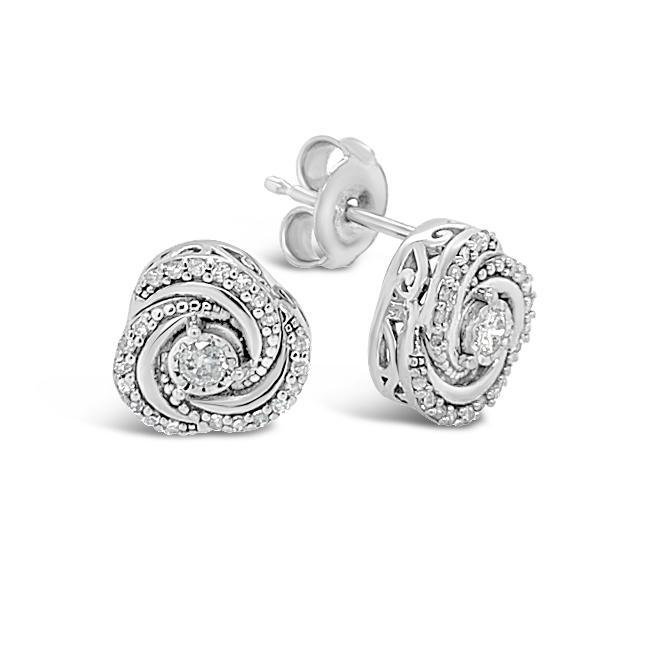 1/5 Carat Diamond Swirl Stud Earrings in 10K White Gold