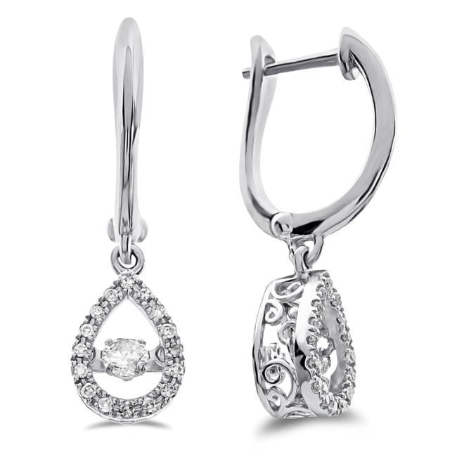 1/3 Carat Diamond Dangle Earrings in 10K White Gold
