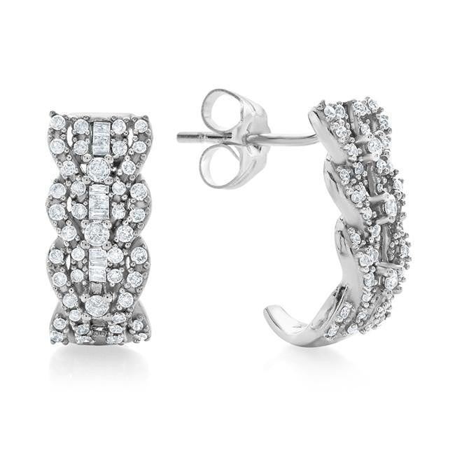 0.50 Carat Diamond Half-Hoop Earrings in 10k White Gold